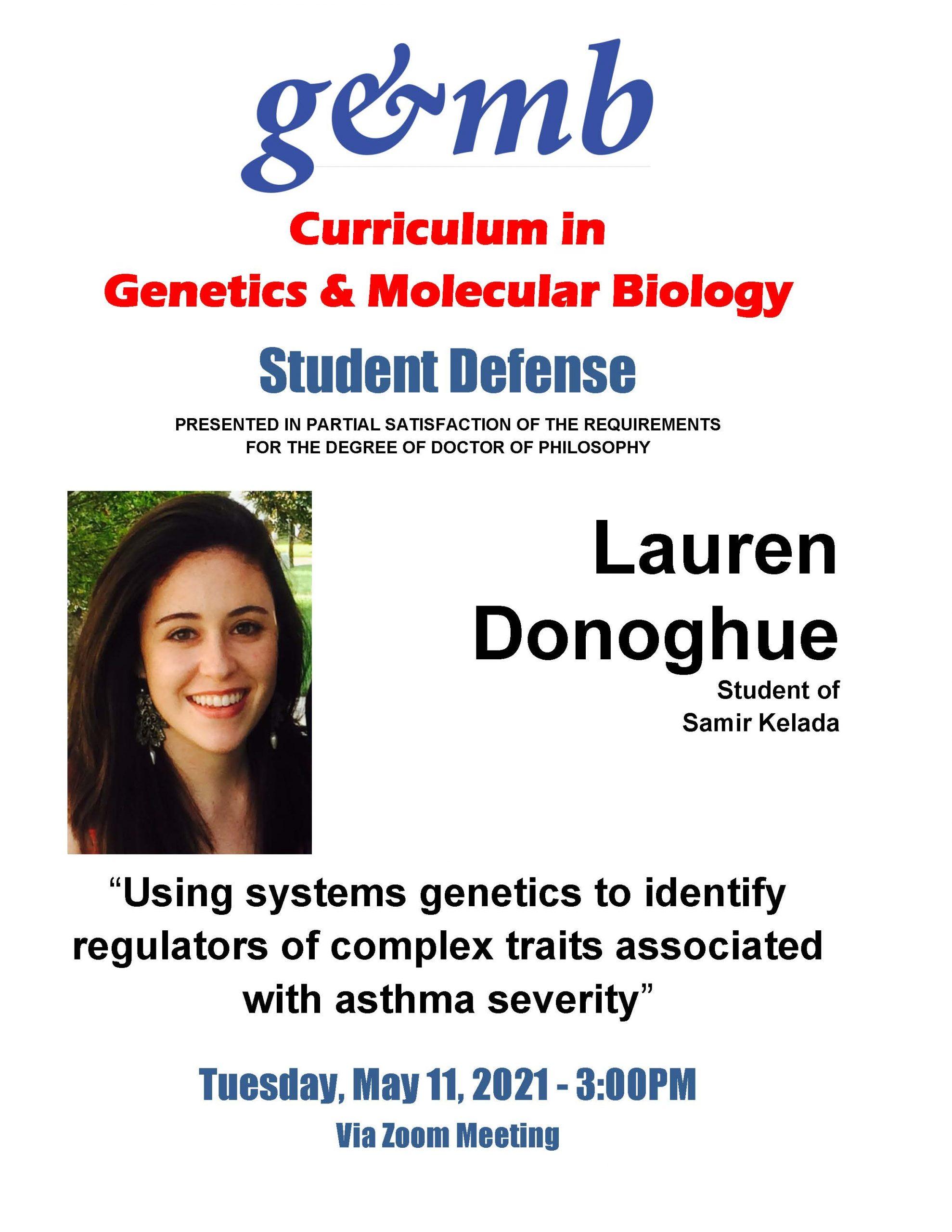 Donoghue_Lauren Defense Announcement 21 0511